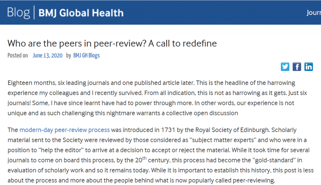 Who are the peers in peer-review? A call to redefine