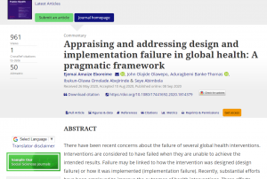 Appraising and addressing design and implementation failure in global health: A pragmatic framework