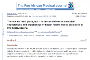 There is no ideal place, but it is best to deliver in a hospital: expectations and experiences of health facility-based childbirth in Imo State, Nigeria