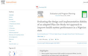 Evaluating the design and implementation fidelity of an adapted Plan-Do-Study-Act approach to improve health system performance in a Nigerian state