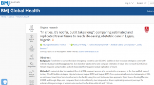 """""""In cities, it's not far, but it takes long"""": comparing estimated and replicated travel times to reach life-saving obstetric care in Lagos, Nigeria"""