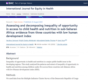 Assessing and decomposing inequality of opportunity in access to child health and nutrition in sub-Saharan Africa: evidence from three countries with low human development index