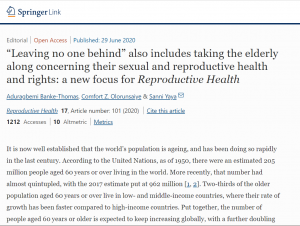 """""""Leaving no one behind"""" also includes taking the elderly along concerning their sexual and reproductive health and rights: a new focus for Reproductive Health"""